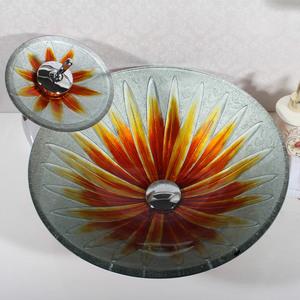 Раковина из стекла Bronze de Luxe T12*Φ450*H155mm со смесителем