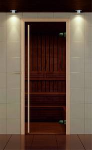 Дверь в сауну Bronze de Luxe 690x1890 мм матовое стекло