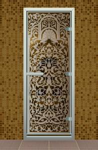 Дверь в хаммам Bronze de Luxe 690x1890 мм бронзовое стекло