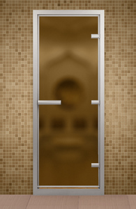Дверь в хаммам Bronze de Luxe 690x1890 мм бронза матовое стекло