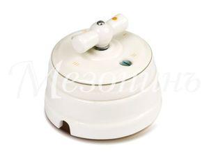 Выключатель фарфоровый поворотный на 4 положения, цвет - платина на белом